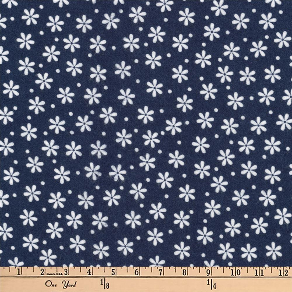 Kaufman Cozy Cotton Flannel Daisies Navy Fabric