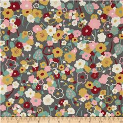 Kaufman London Calling Lawn Flower Stem Pewter Fabric