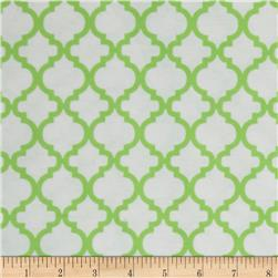 Bella Quatrefoil Flannel White/Green Apple