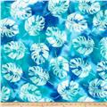 Indian Batik Polynesian Batiks Tropical Leaf Blue/ Green