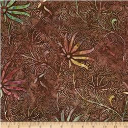 Timeless Treasures Tonga Batik Dotty Swirl Flower Fudge