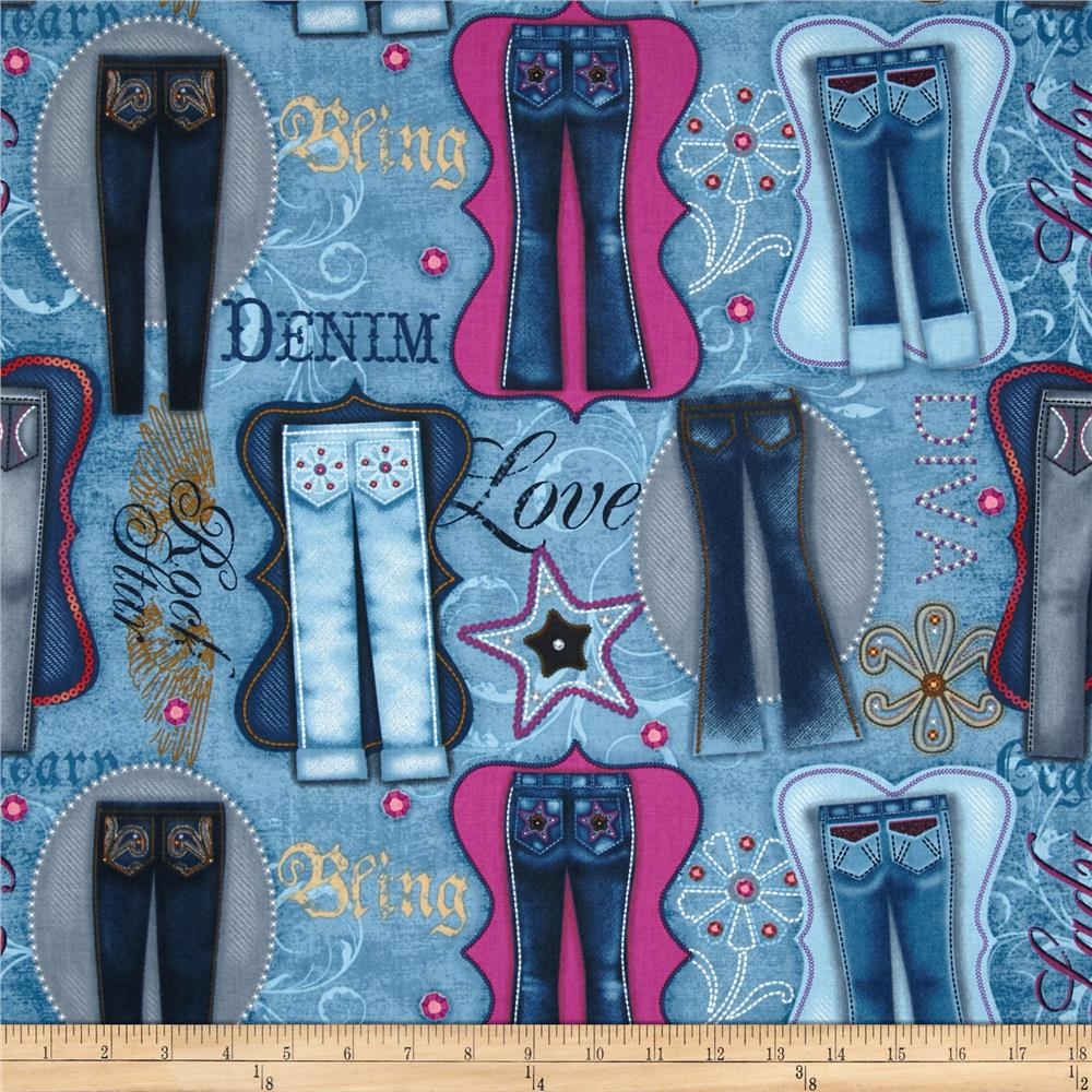 Diamonds & Denim Jeans Patchwork Blue