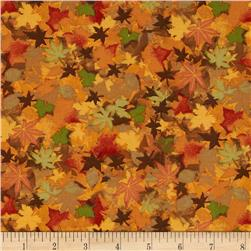 Harvest Bounty Packed Leaves Rust Fabric