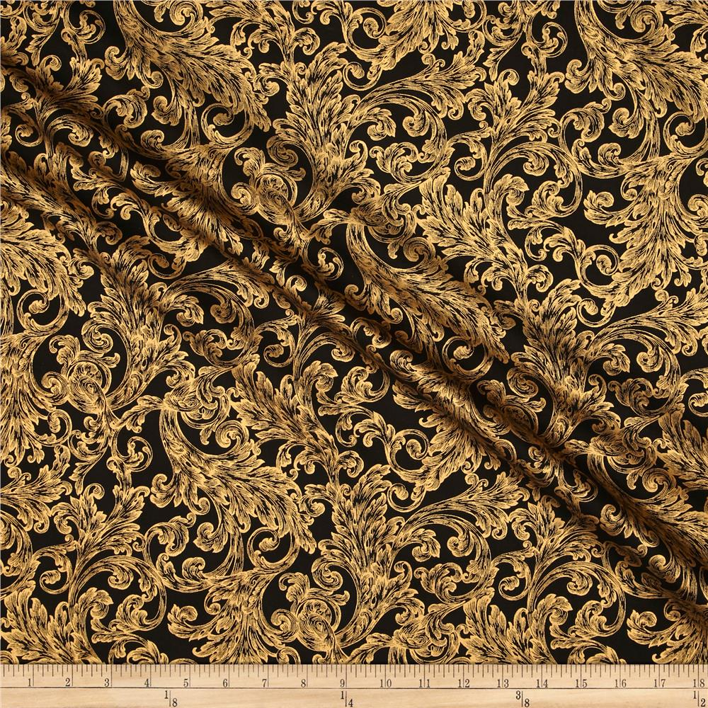 Warm Wishes Metallic Damask Black/Gold