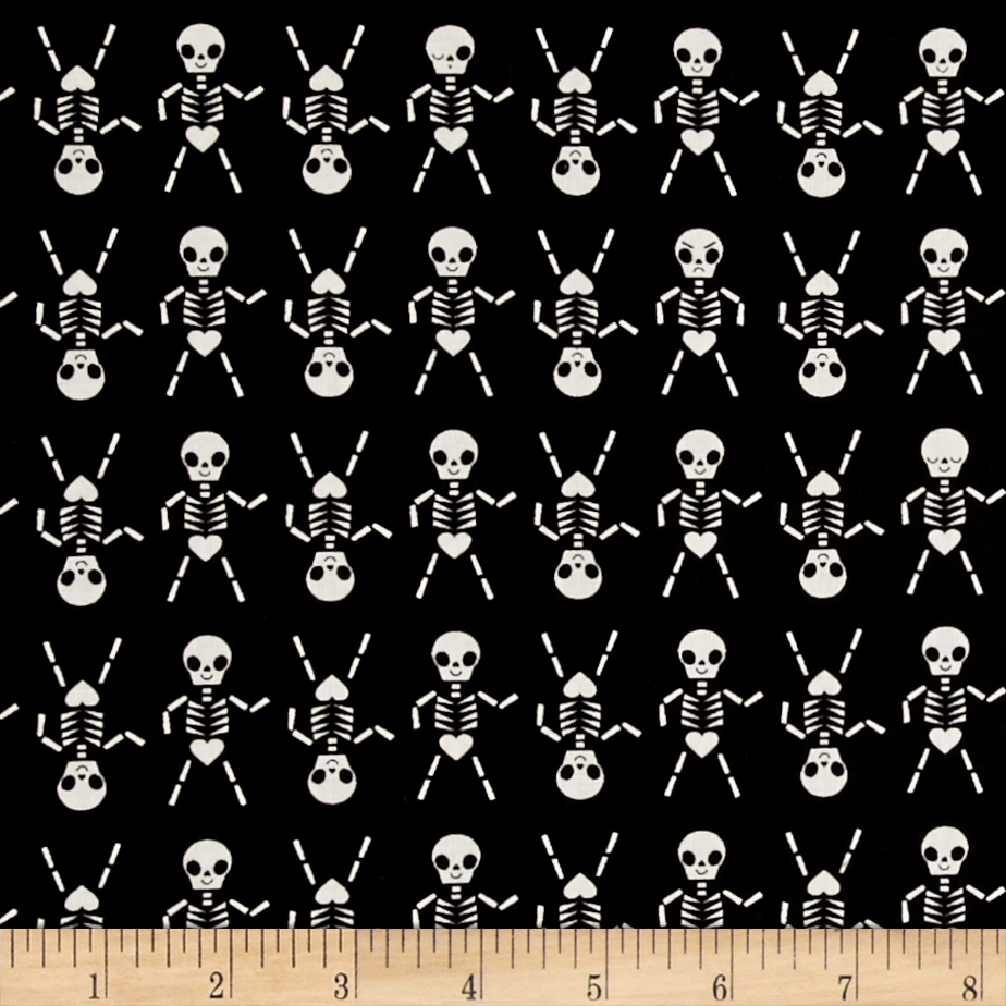 Cotton + Steel Boo Skeleton Dance Black Fabric by Cotton & Steel in USA