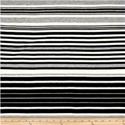 Rib Knit Yarn Dyed Stripe Black/Ivory/Heather Gray