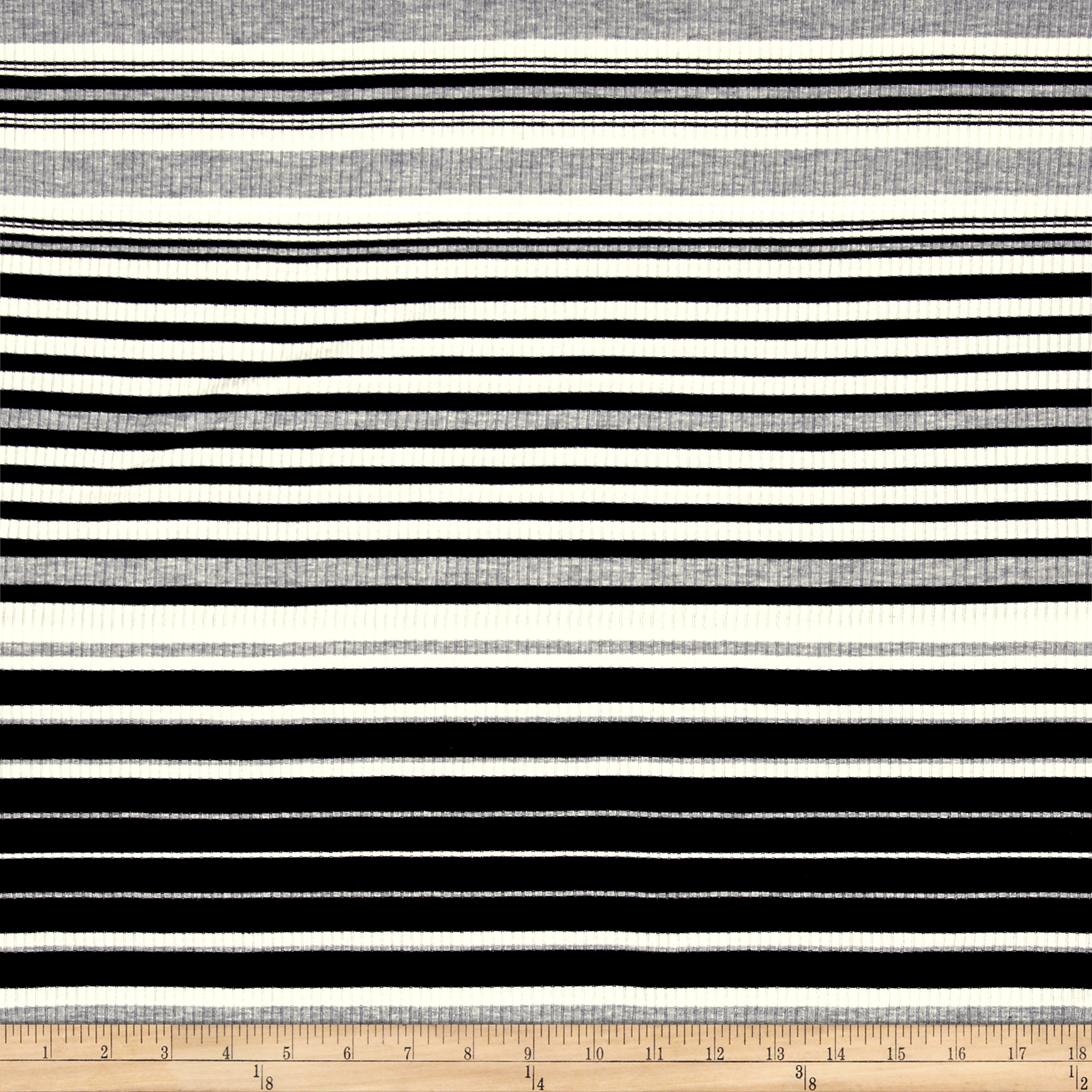 Rib Knit Yarn Dyed Stripe Black/Ivory/Heather Gray Fabric 0490556