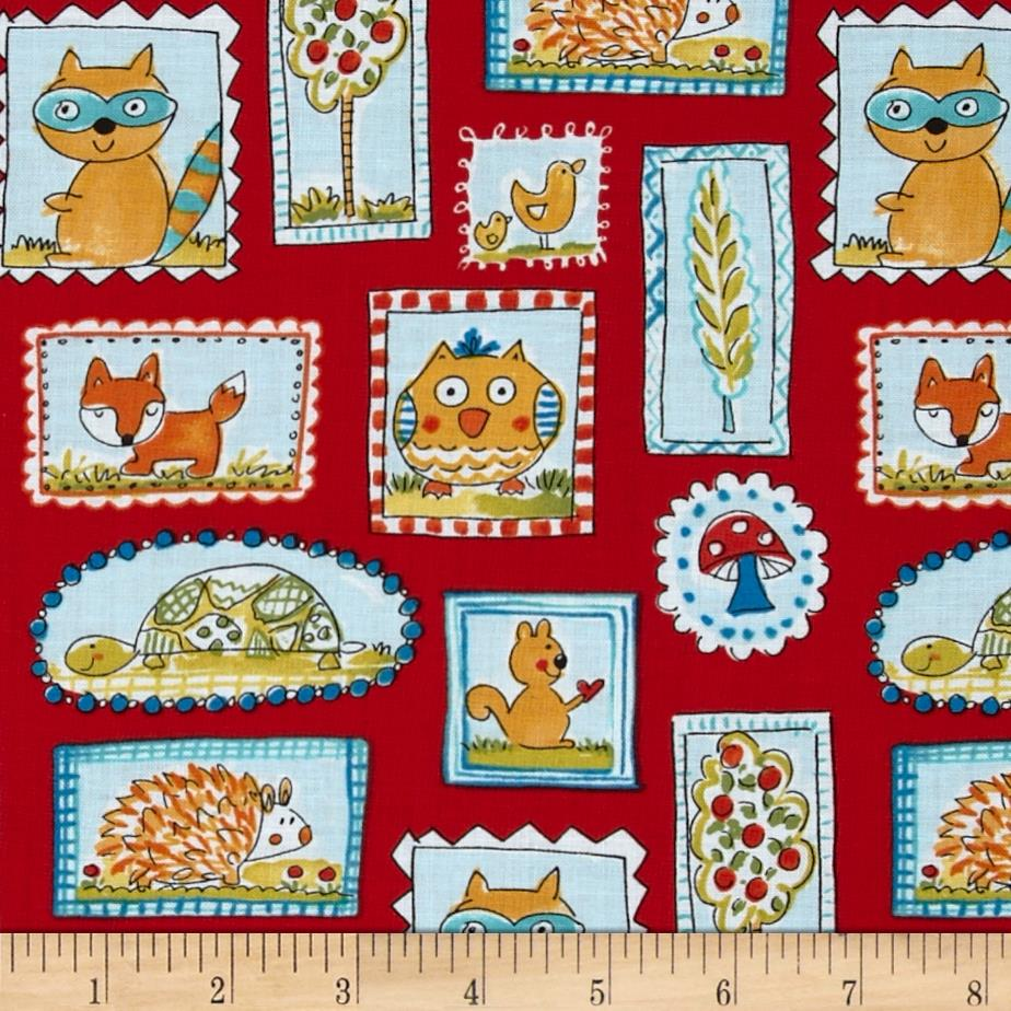 Fox playground frames red discount designer fabric for Fabric picture frames