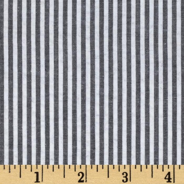 Woven Cotton Seersucker Stripes Grey/White