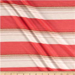 Metallic Blend Jersey Knit Stripes Coral Pink/Gold.White