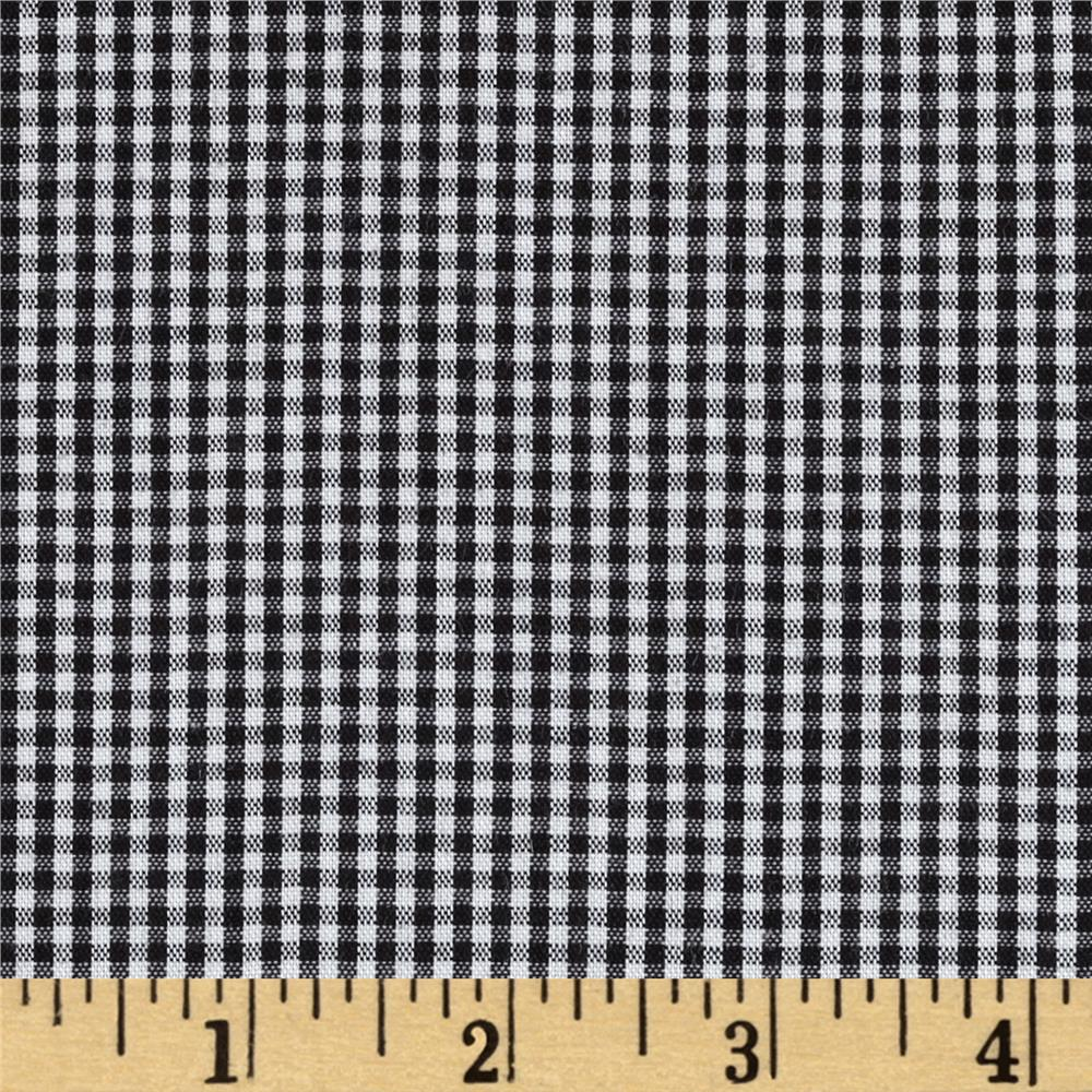 Micro Check Cotton Poly Shirting Jet Black/White