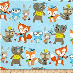 Comfy Flannel Woodland Animals Blue
