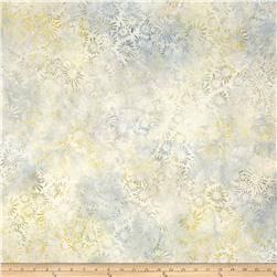 "106"" Wide Wilmington Batik Quilt Back Flower & Leaves Gray"