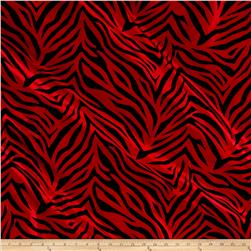 Flocked Zebra Taffetta Red