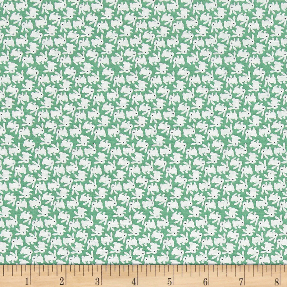 1930s Fashion Colors, Clothing & Fabric Nana Mae 1930s White Bunnies On Green Fabric $8.43 AT vintagedancer.com