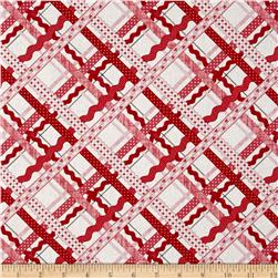 Dear Heart Rickrack Plaid White Pink