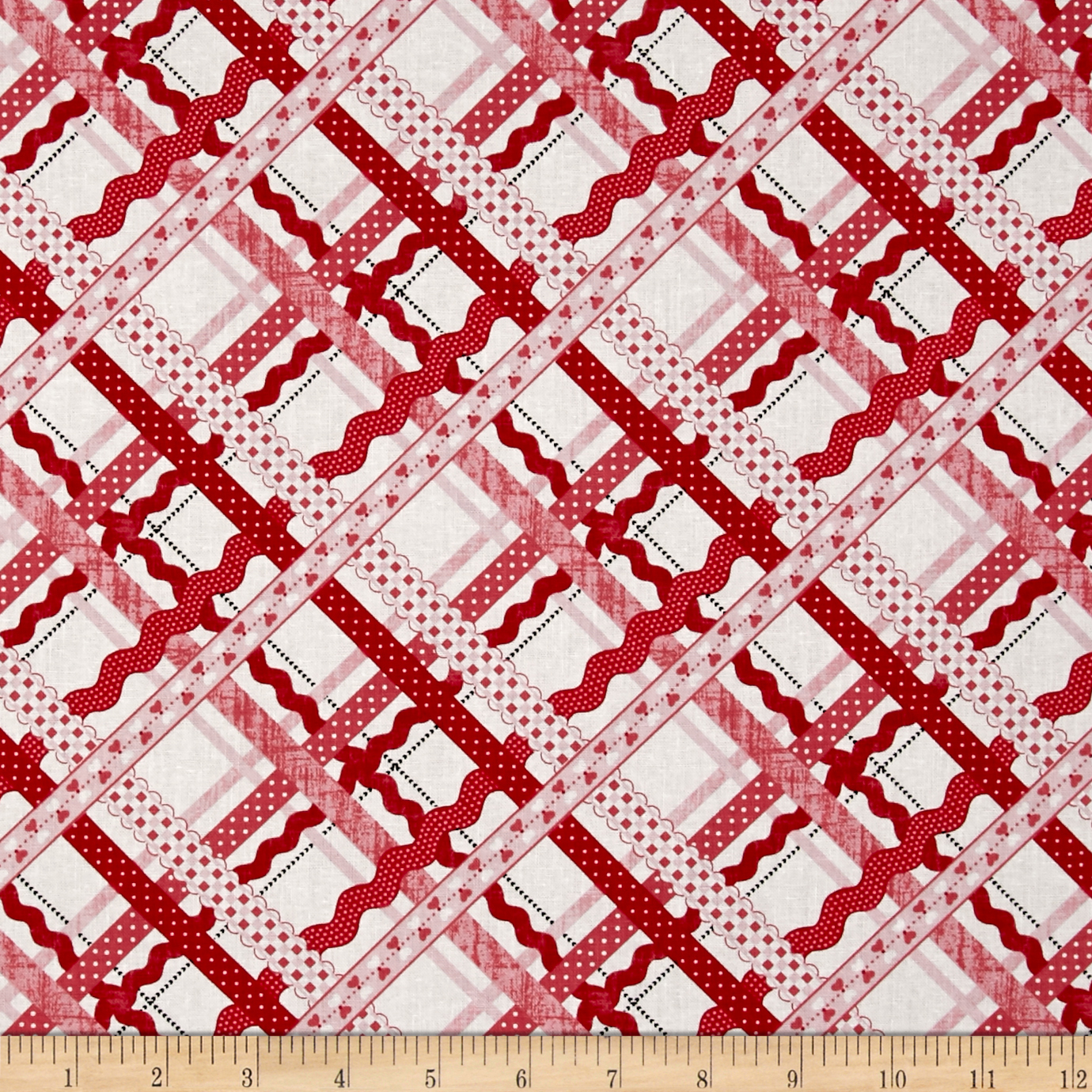 Dear Heart Rickrack Plaid White Pink Fabric by Studio E in USA