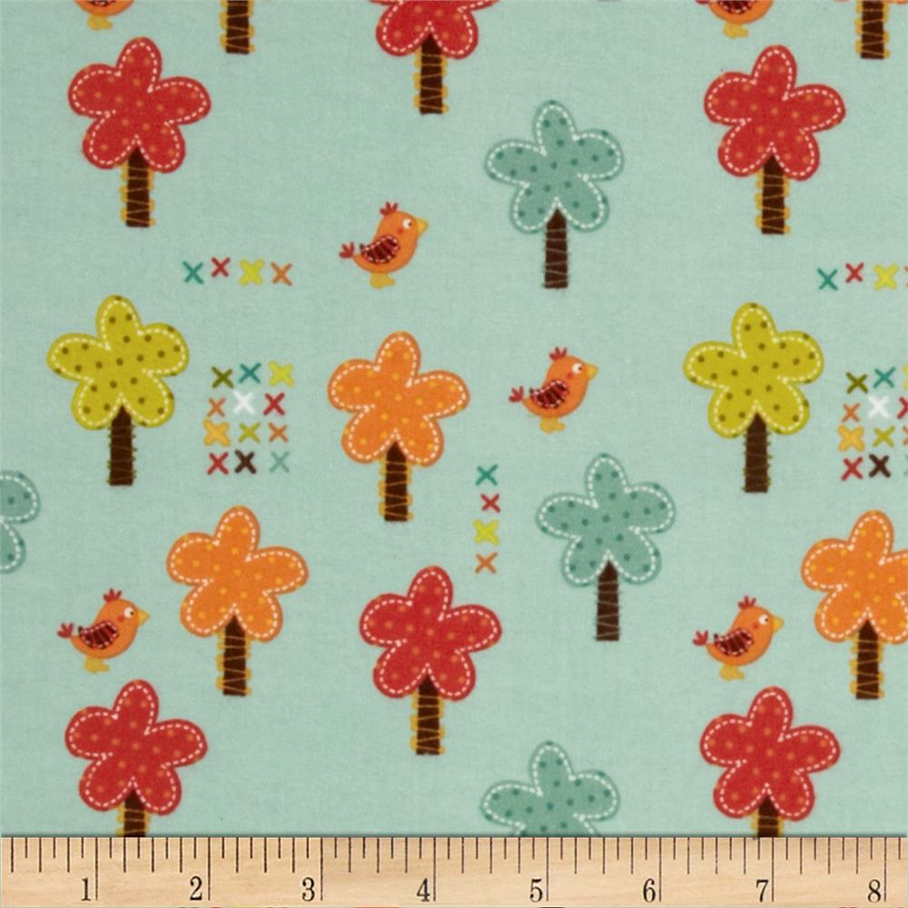 Riley Blake Giraffe Crossing Flannel Giraffe Trees Teal