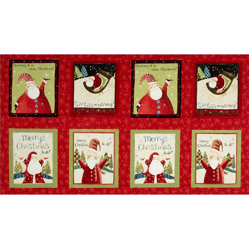 Santa's On His Way Large Block Print Panel Light Red