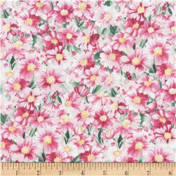 Timeless Treasures Wildflowers Watercolor Packed Floral Pink
