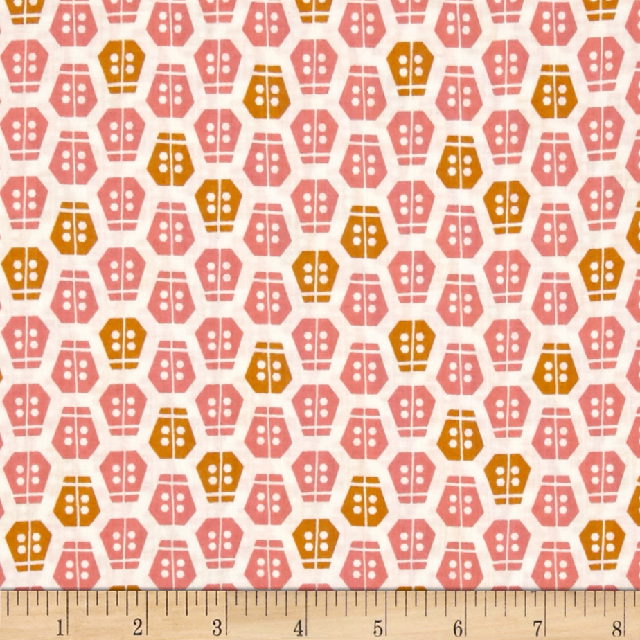 Cloud 9 Organic Vignette Ladybug Pink Fabric by Cloud 9 in USA