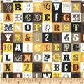 Riley Blake Flannel Sasparilla Alphabet Yellow