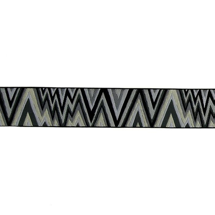 "1 1/2"" Kaffe Fasset Flame Stitch Ribbon Black/White"