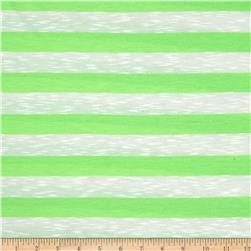 Designer Yarn Dyed Jersey Knit Neon Green/White Fabric