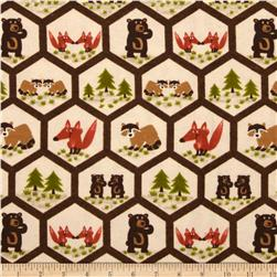 Comfy Flannel Woodland Animals Hexigon Cream Fabric