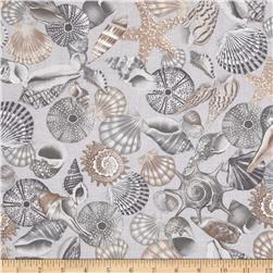 Kanvas Neptune's Dream Tossed Seashell Silver Fabric