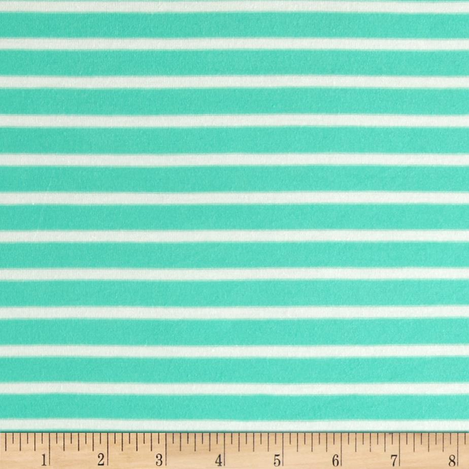 Stretch Rayon Jersey Knit Small Stripe Seafoam/Off White