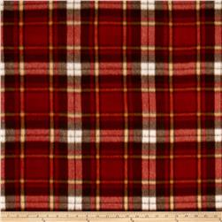 Polar Fleece Print Herringbone Plaid Rust