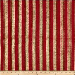 "60"" Metallic Foil Stripe Burlap Red/Gold"