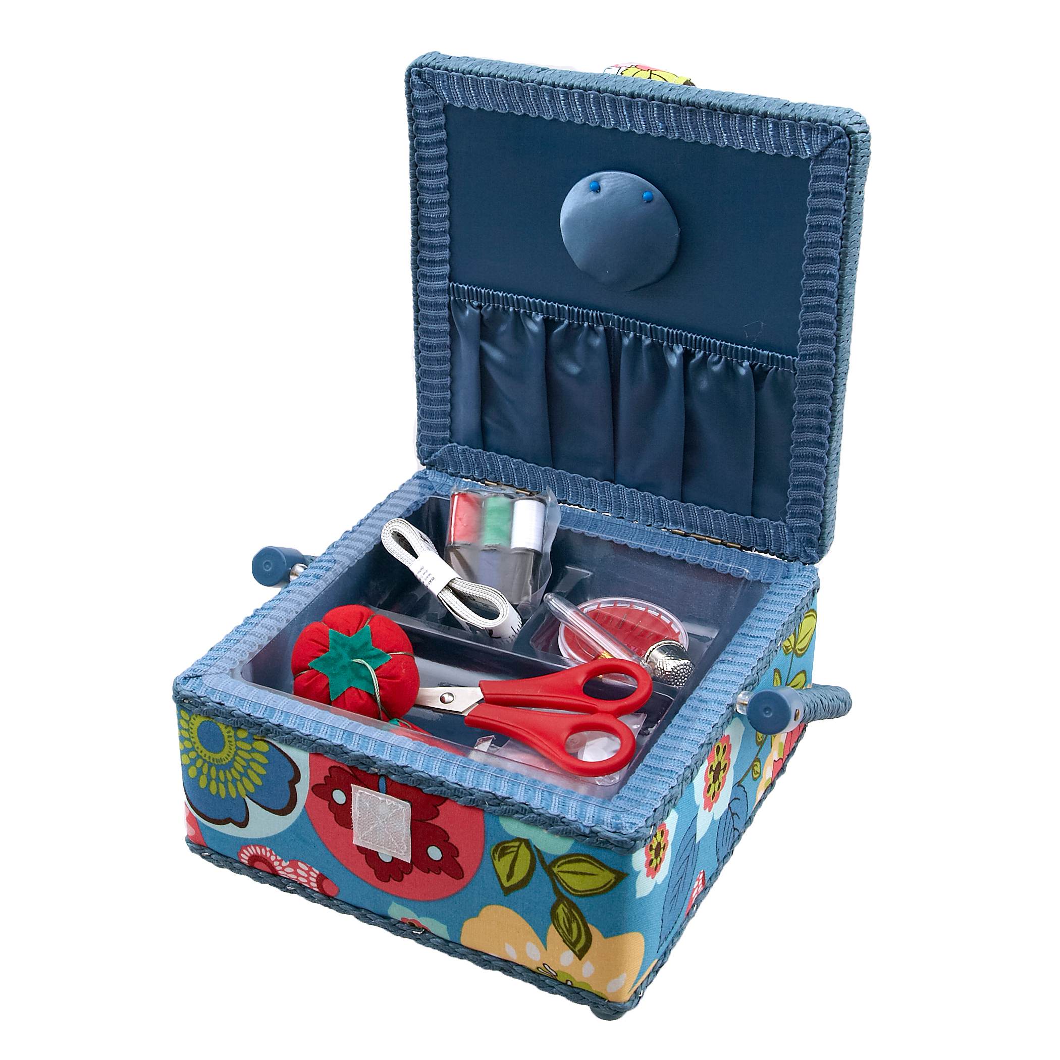 Sewing Basket & Basic Notions Kit Light Blue