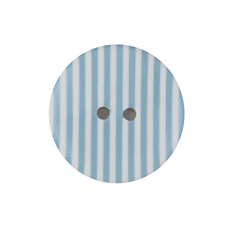 "Dill Novelty Button 1-3/8"" Blue Stripe on White"