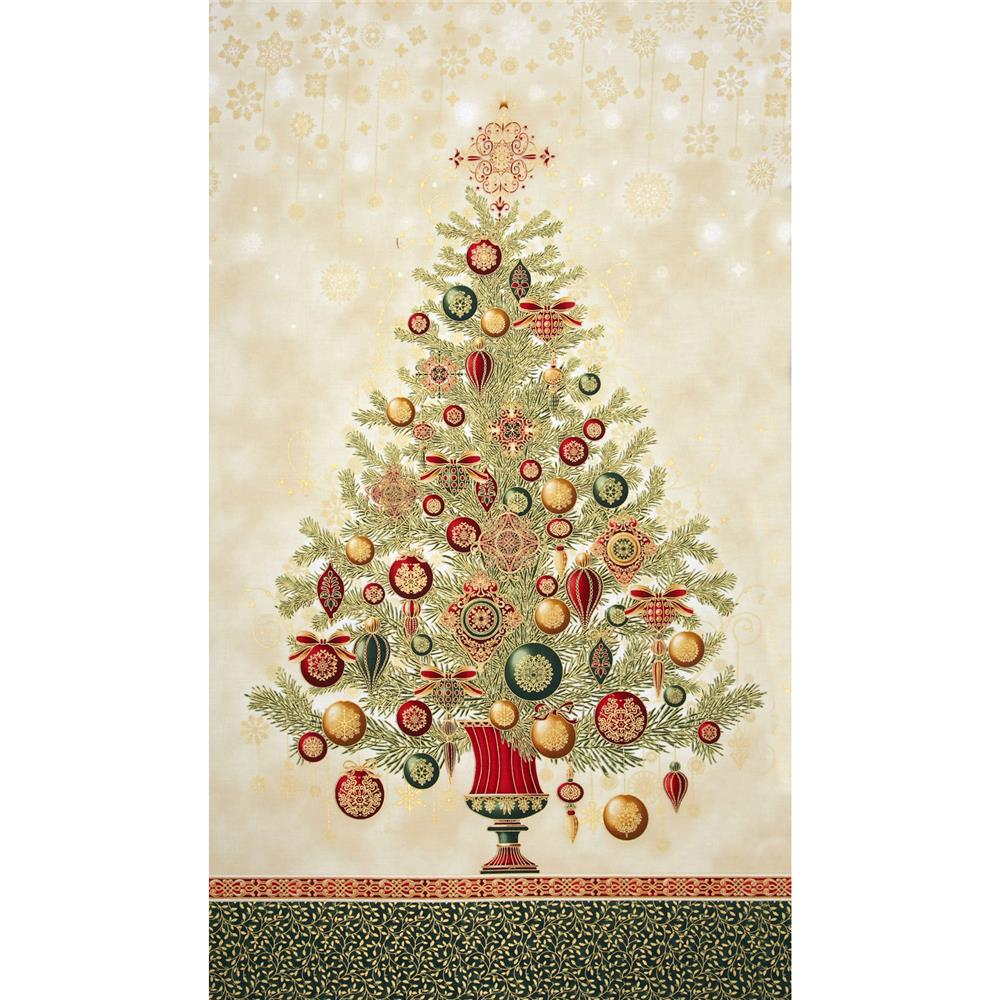 Winter's Grandeur Metallic Tree Panel Holiday Green