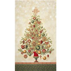 Winter's Grandeur Metallic Tree Panel Holiday Green Fabric