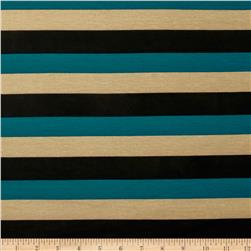 Stretch Jersey Knit Spendid Stripe Teal/Tan