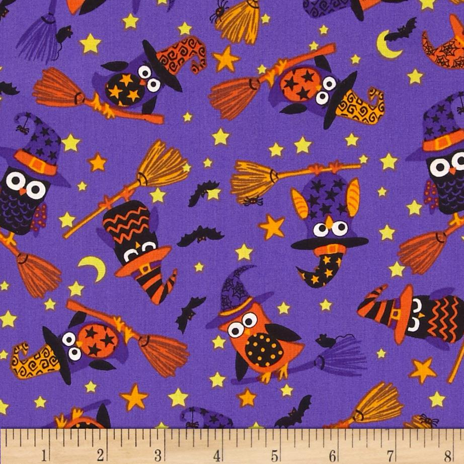 Timeless Treasures Night Crawlers Witch Owls Purple