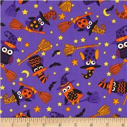 Timeless Treasures Night Crawlers Witch Owls Purple Fabric