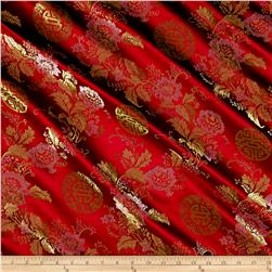 Chinese Brocade Red/Orange/Green/Blue Roses