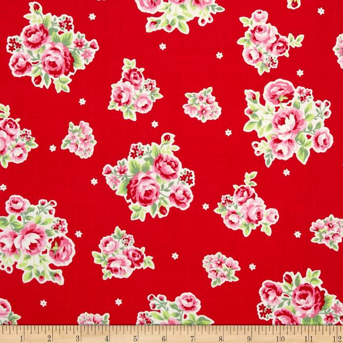 Lecien Flower Sugar Medium Floral Toss w/ White Tiny Flowers Red