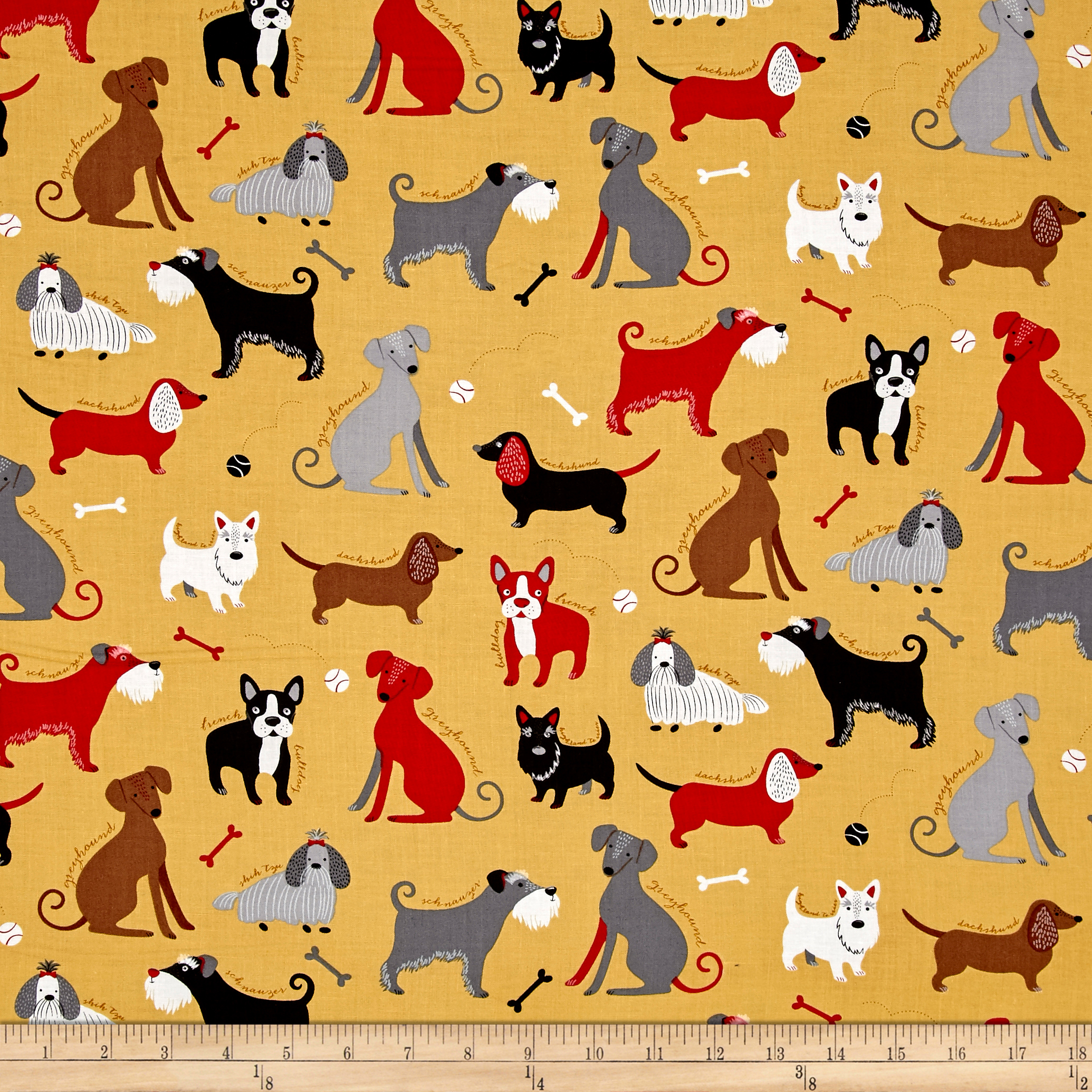 Kaufman Classy Canines Dogs and Bones Vintage Fabric