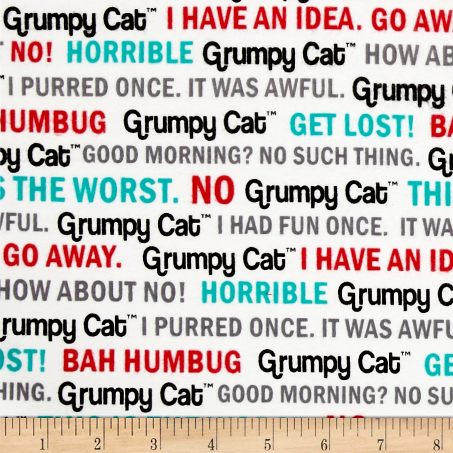 Marcus Grumpy Cat Flannel Words White Fabric by Marcus in USA