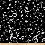 Boys Rock Fleece Musical Notes Black