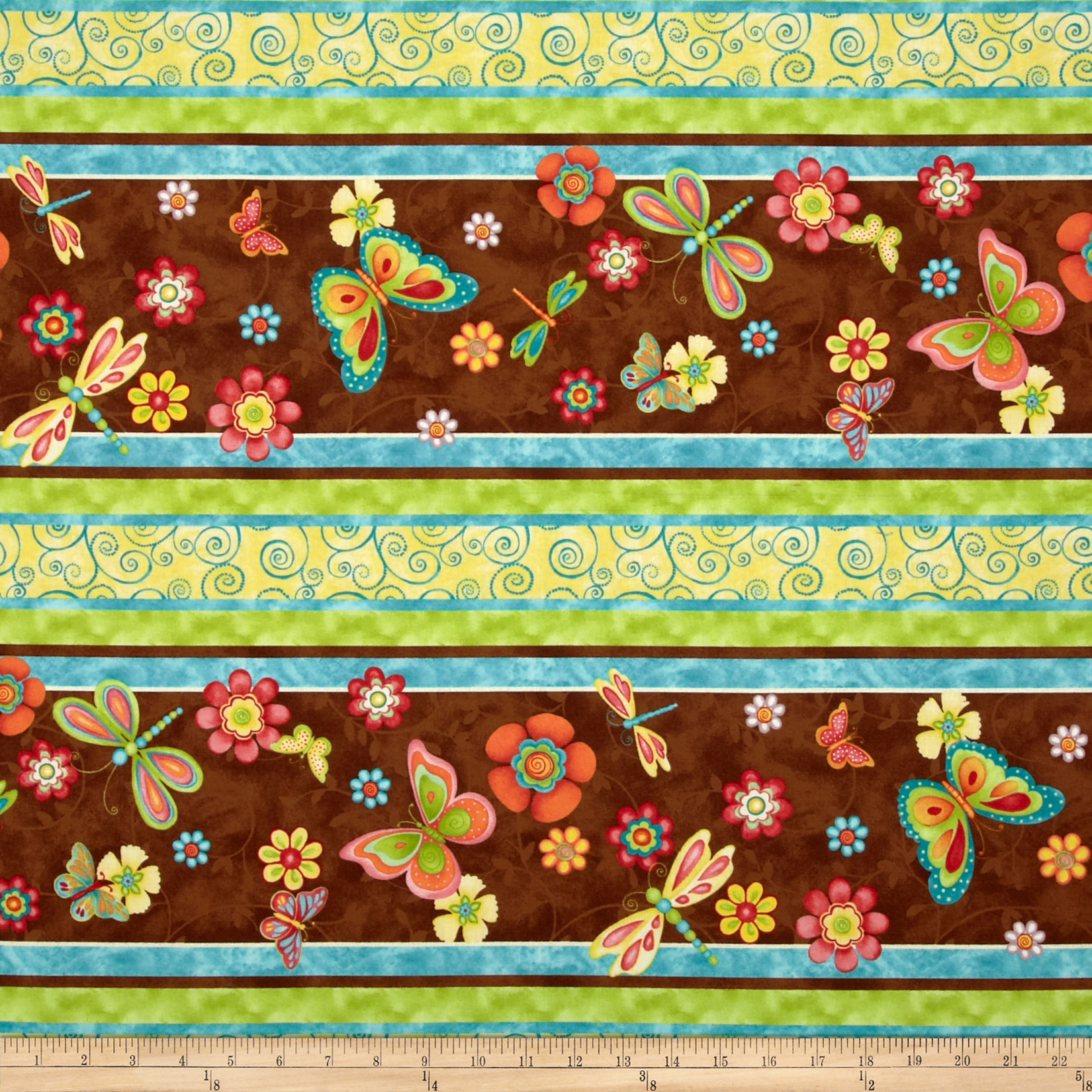 Happy Blooms Repeating Stripe Multi Fabric