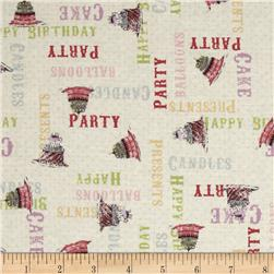 Hullabaloo Tossed Words Pink Fabric
