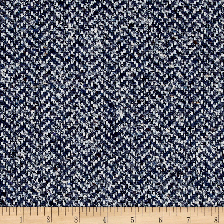 Clarence House Maxwell Tweed Dark Blue Fabric