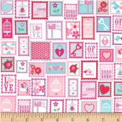 Riley Blake Lovey Dovey Flannel Stamps Pink