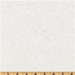 110'' Wide Quilt Backing Daisy White Fabric